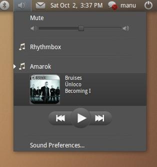 ubuntu 10.10 sound menu 声音菜单 音乐播放器